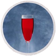 Red Wine With Storm Clouds Round Beach Towel