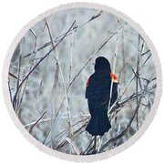 Red Wing Perched Round Beach Towel