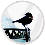 Red Wing Posed Round Beach Towel