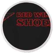 Red Wing Shoes Painted Round Beach Towel