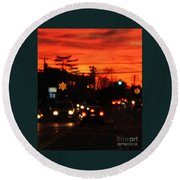 Red Winter Sunset Over Long Island Suburbs Round Beach Towel