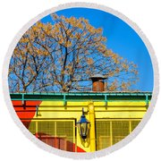 Red Yellow And Blue Building Round Beach Towel