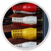 Red Yellow And White Cables Round Beach Towel
