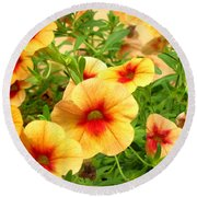 Red Yellow Morning Glories Round Beach Towel