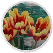 Red Yellow Tulips Round Beach Towel
