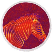 Red Zebra Round Beach Towel
