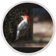 Redbellied Woodpecker Round Beach Towel