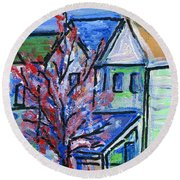 Redbud Tree At West Cape May Round Beach Towel