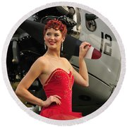 Redhead Pin-up Girl In 1940s Style Round Beach Towel by Christian Kieffer