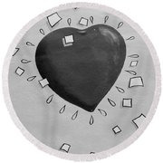 Redheart In Black And White2 Round Beach Towel