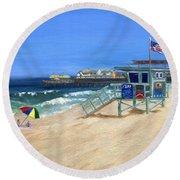 Redondo Beach Lifeguard  Round Beach Towel
