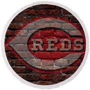 Reds Baseball Graffiti On Brick  Round Beach Towel