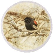 Redwing In The Wind Round Beach Towel