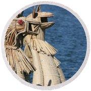 Reed Boat Lake Titicaca Round Beach Towel