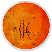 Reeds And Reflection In Orange Round Beach Towel