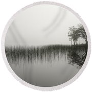 Reeds And Shore In The Mist Round Beach Towel