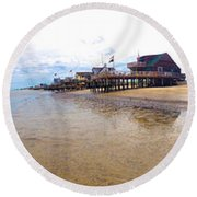 Reeds Beach Panorama - New Jersey Round Beach Towel