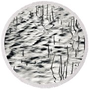Reeds In Ripples Round Beach Towel