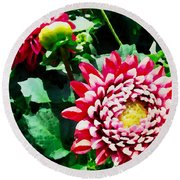 Ref Dahlias Round Beach Towel