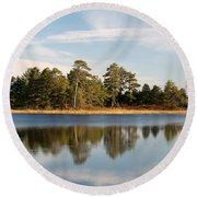 Reflected Clouds Round Beach Towel