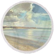 Reflected Clouds Oxwich Beach Round Beach Towel