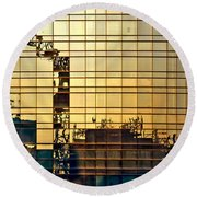 Reflected Cranes At Sunset Round Beach Towel