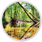 Reflected Forests Round Beach Towel