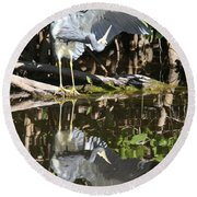 Reflected Great Blue Heron Round Beach Towel