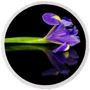 Reflected Iris Round Beach Towel
