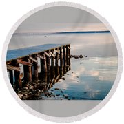 Reflected Pier Round Beach Towel