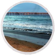 Reflected Sunlight At Pier's End Round Beach Towel