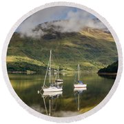 Reflected Yachts In Loch Leven Round Beach Towel