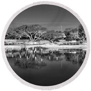 Reflecting Lighthouse  Round Beach Towel