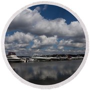 Reflecting On Boats And Clouds - Port Perry Marina Round Beach Towel