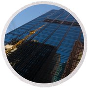 Reflecting On Skyscrapers - Downtown Atmosphere Round Beach Towel
