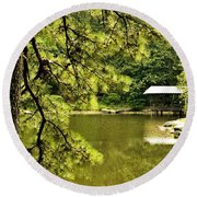 Reflecting On The Beauty Of The Woodlands Round Beach Towel