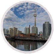 Reflecting On Toronto And Harbourfront  Round Beach Towel