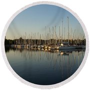 Reflecting On Yachts And Sailboats Round Beach Towel
