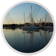 Reflecting On Yachts - Hot Summer Afternoon Mirror Round Beach Towel