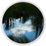 Reflecting The Grass Round Beach Towel