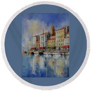 Reflection  -  St.tropez - France Round Beach Towel