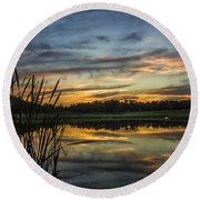 Reflection At Sunset With Cattails Round Beach Towel