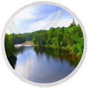 Reflection In Beaupre Quebec Round Beach Towel