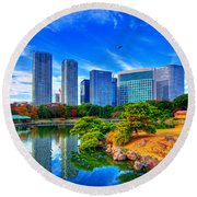 Reflection In Blues Round Beach Towel