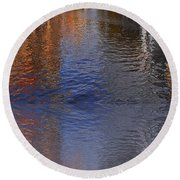 Reflection In Canal Round Beach Towel