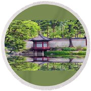 Reflection In Korea Round Beach Towel