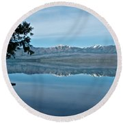 Reflection In Lake Mcdonald In Glacier National Park-montana Round Beach Towel