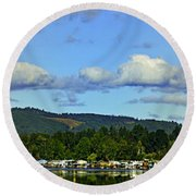 Reflection In The Lake Round Beach Towel