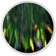 Reflection In The Pond Round Beach Towel