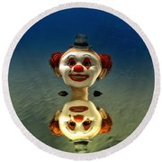 Reflection Of A Clown Round Beach Towel
